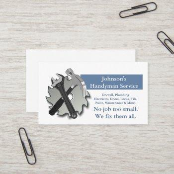 handyman repairman saw blade hammer wrench business card