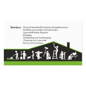 Small Handyman Services, Home Maintenance Business Card Back View