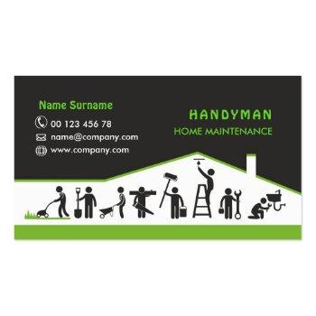 Small Handyman Services, Home Maintenance Business Card Front View