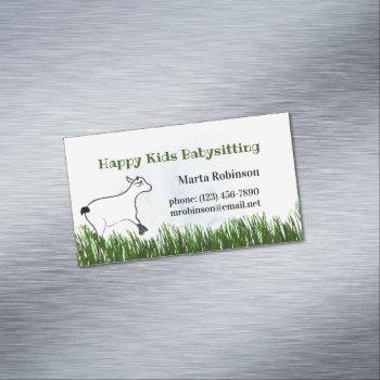 happy kids babysitting business card magnet
