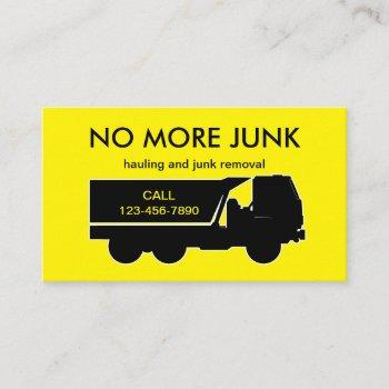 hauling and junk removal business card