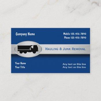 hauling junk removal modern business cards