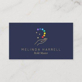 healing hand logo reiki, massage therapy dark blue business card