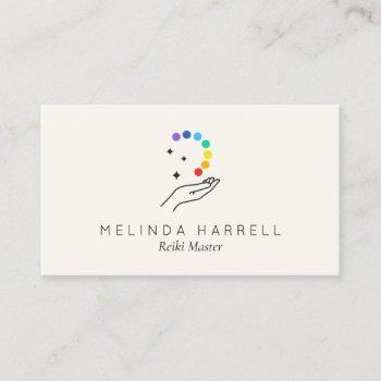 healing hand logo reiki, massage, wellness ivory business card
