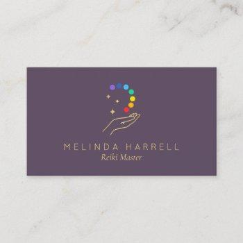 healing hand logo reiki, massage, wellness purple business card