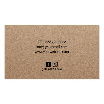 Small Healing Hands & Heart Massage Therapy Rustic Kraft Business Card Back View