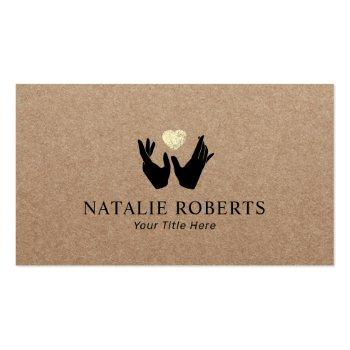 Small Healing Hands & Heart Massage Therapy Rustic Kraft Business Card Front View
