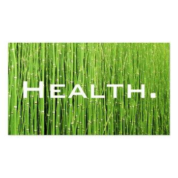 Small Health Professional Business Card-natural Green Business Card Front View