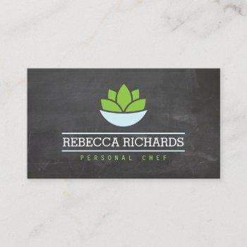 healthy salad vegetables catering logo chalkboard business card