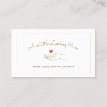 heart in hand disabled homecare caregiver nurse business card