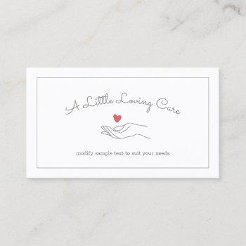 heart in hand elderly disabled caregiver business card