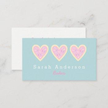 heart sugar cookie business card for bakers