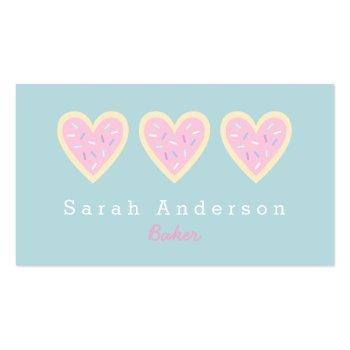 Small Heart Sugar Cookie Business Card For Bakers Front View