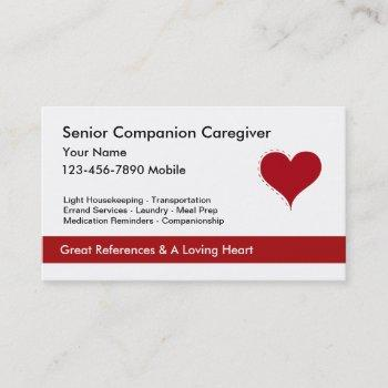 heart symbol caregiver business cards