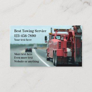 heavy duty towing service business card