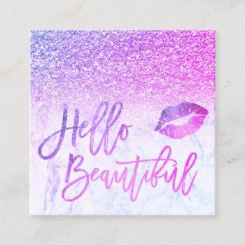 hello beautiful pink purple glitter ombre marble square business card