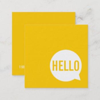 hello | casual modern white & yellow speech bubble square business card