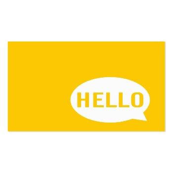 Small Hello | Casual Modern White & Yellow Speech Bubble Square Business Card Front View