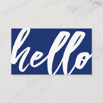 hello | fancy script navy blue business card