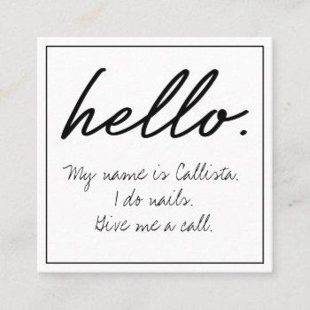 hello i do quote modern black white typography square business card