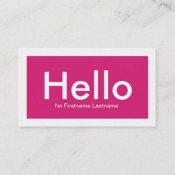 hello personal networking business cards in pink