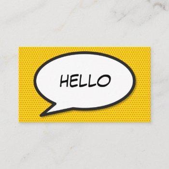 hello speech bubble fun retro comic book business card