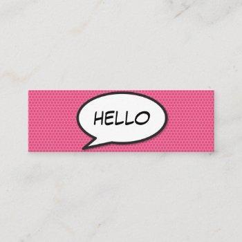 hello speech bubble fun retro comic book mini business card