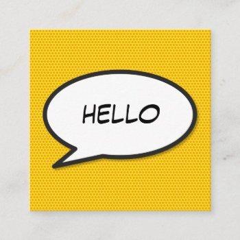 hello speech bubble fun retro comic book square business card