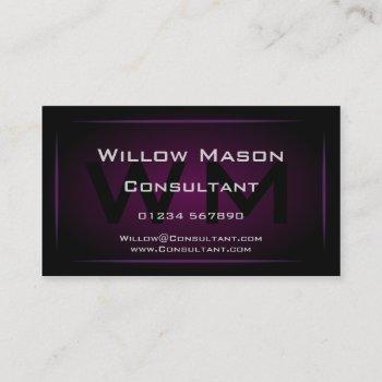 hi-res purple monogram professional business card