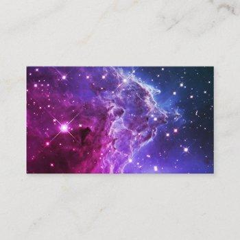 hipster purple ombre monkey head nebula business card