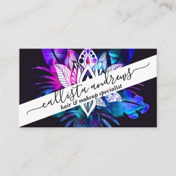 hipster retro tech teal purple lotus flower leaf business card