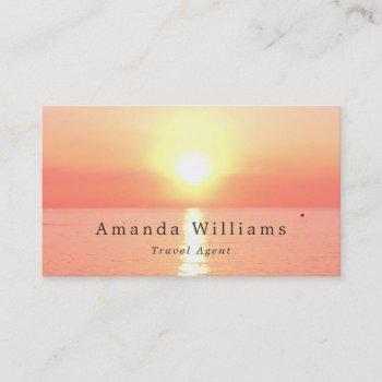 holiday sunset, travel agent business card