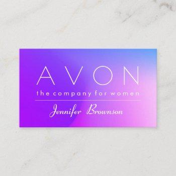 hologram colorful pink blue makeup represent avon business card