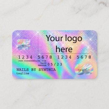 holograph  credit card nail tech add logo