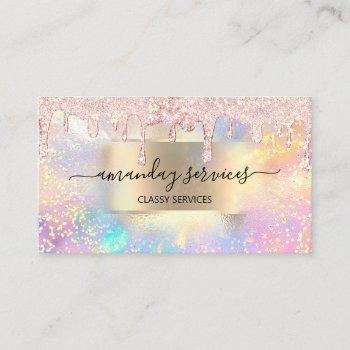 holograph makeup lashes boutique gold rose drip business card