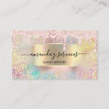 holograph makeup lashes nails studio gold rose business card