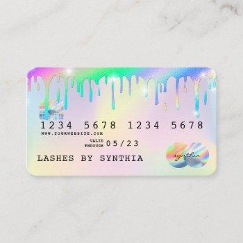 holograph unicorn dripping credit card lashes