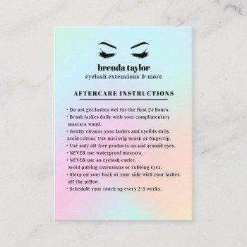 holographic eyelash browbar aftercare instructions business card