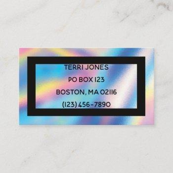 holographic foil black cute young professional business card