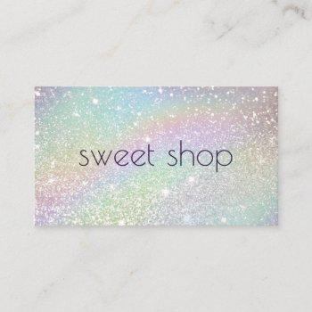 holographic glitter bakery, sweets business card