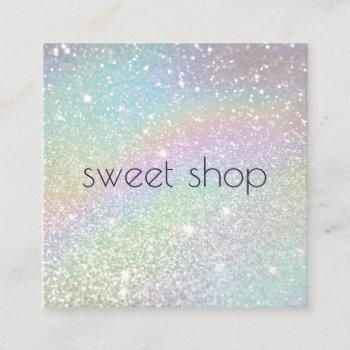 holographic glitter bakery, sweets square business card