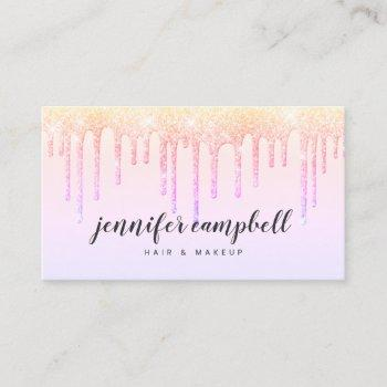 holographic makeup hair pastel pink glitter drips business card