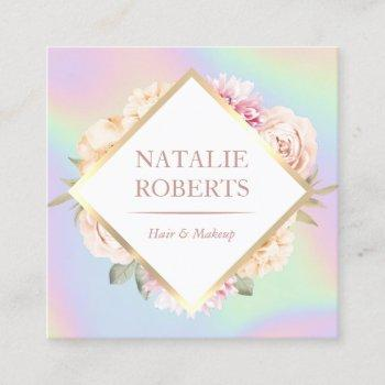 holographic pastel floral makeup artist hair salon square business card