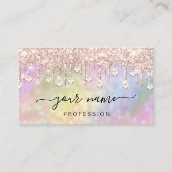 holographic pink rose  drips makeup artist business card