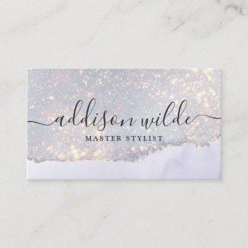 holographic purple glitter luxury glam iridescent business card
