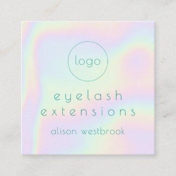 holographic rainbow lash extensions custom logo square business card