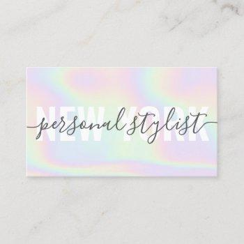 holographic rainbow script signature girly stylist business card