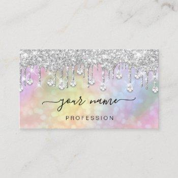 holographic silver glitter drips makeup artist business card
