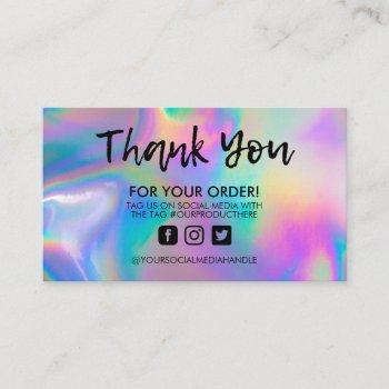 holographic trendy salon thank you business card