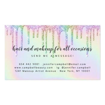 Small Holographic Unicorn Makeup Hair Glitter Drips Glam Business Card Back View